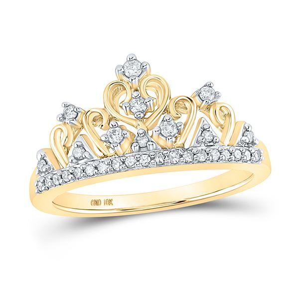 Diamond Tiara Crown Band Ring 1/5 Cttw 10kt Yellow Gold