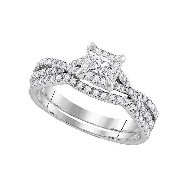Diamond Square Halo Bridal Wedding Ring Band Set 5/8 Cttw 10kt White Gold