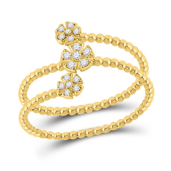 Diamond Fashion Flower Cluster Ring 1/8 Cttw 10kt Yellow Gold