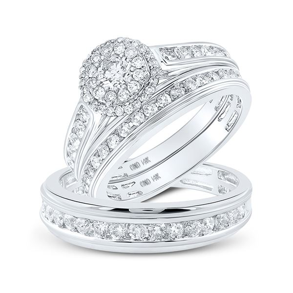 His Hers Diamond Solitaire Matching Wedding Set 1-5/8 Cttw 14kt White Gold