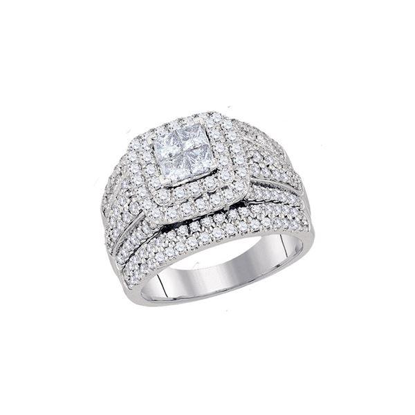 Princess Diamond Cluster Bridal Wedding Engagement Ring 2 Cttw 14kt White Gold