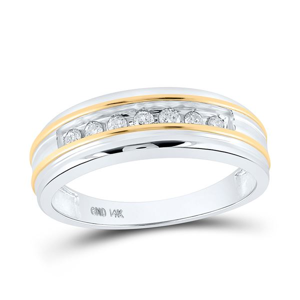 Mens Channel-set Diamond Wedding Band 1/4 Cttw 14kt White Two-tone Gold