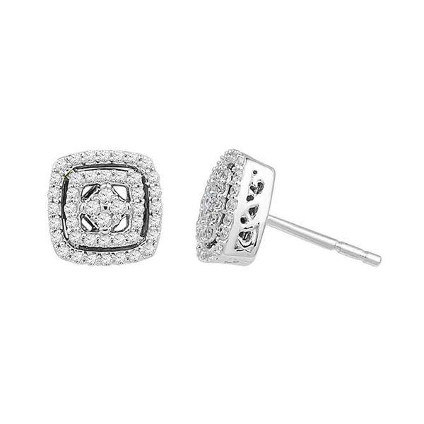 Diamond Square Stud Earrings 3/8 Cttw 10kt White Gold