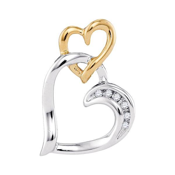 Diamond Heart Pendant .03 Cttw 10kt Two-tone White Yellow Gold