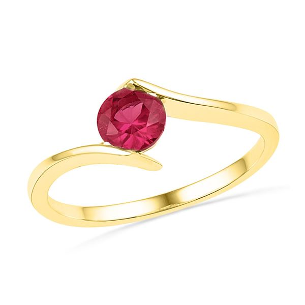 Lab-Created Ruby Solitaire Ring 3/4 Cttw 10kt Yellow Gold