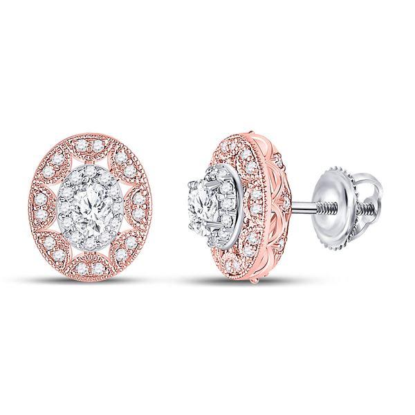 Oval Diamond Halo Earrings 1/2 Cttw 14kt Two-tone Gold