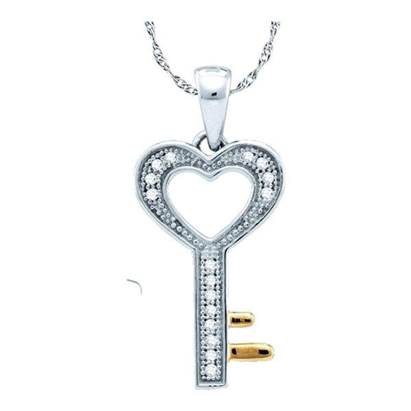 Diamond Heart Key Love Pendant 1/20 Cttw Sterling Silver