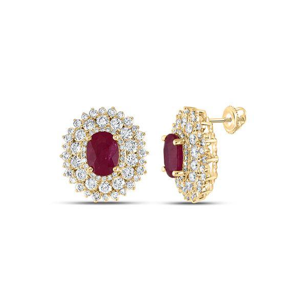 Oval Ruby Diamond Fashion Earrings 5-3/8 Cttw 14kt Yellow Gold