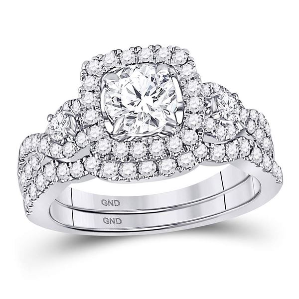 Diamond Halo Bridal Wedding Ring Band Set 1-3/4 Cttw 14kt White Gold