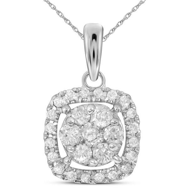 Diamond Square Cluster Pendant 1/4 Cttw 14kt White Gold