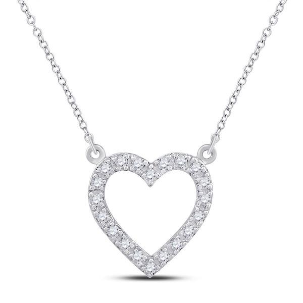 Diamond Heart Necklace 1/12 Cttw 10kt White Gold