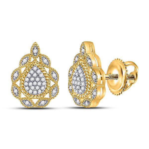 Diamond Teardrop Earrings 1/6 Cttw 10kt Yellow Gold