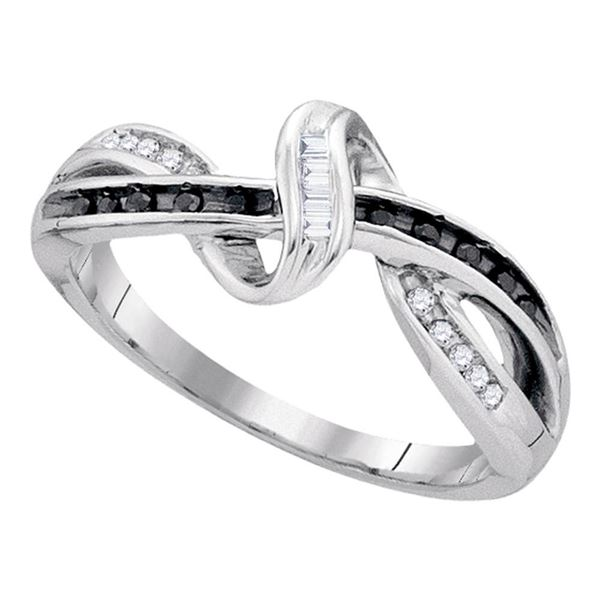 Black Color Enhanced Diamond Crossover Band Ring 1/8 Cttw Sterling Silver