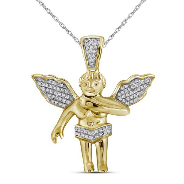 Mens Diamond Polished 3D Guardian Angel Cherub Charm Pendant 1/6 Cttw 10k Yellow Gold