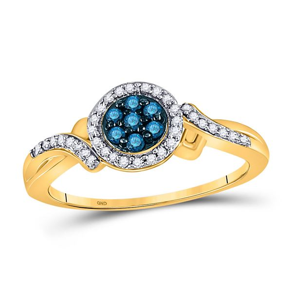 Blue Color Enhanced Diamond Cluster Ring 1/4 Cttw 10kt Yellow Gold