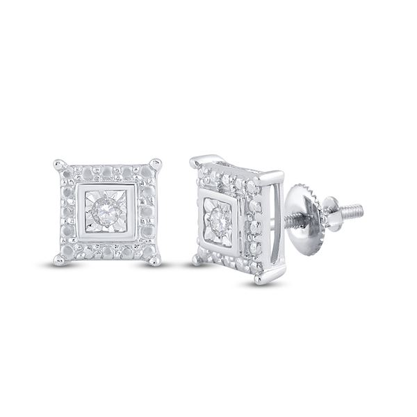 Diamond Square Earrings 1/20 Cttw Sterling Silver