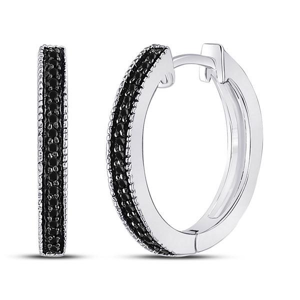 Black Color Enhanced Diamond Hoop Earrings 1/10 Cttw 10kt White Gold
