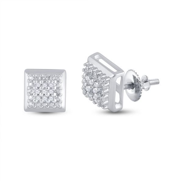Diamond Square Earrings 1/10 Cttw Sterling Silver