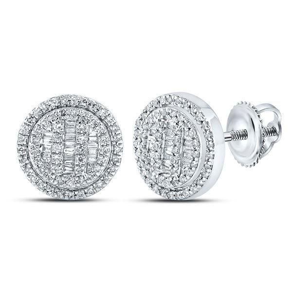 Mens Baguette Diamond Disk Circle Earrings 1/2 Cttw 10kt White Gold