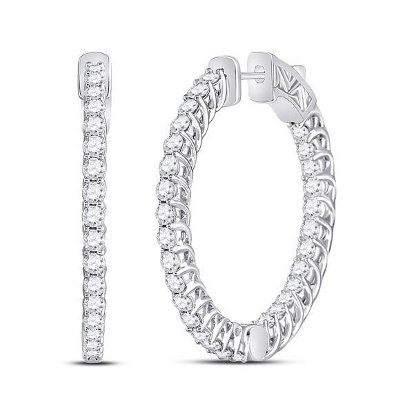 Diamond Single Row Hoop Earrings 3 Cttw 14kt White Gold