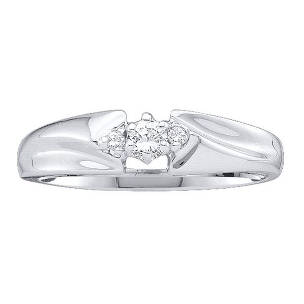 Diamond 3-stone Promise Ring 1/10 Cttw 10kt White Gold