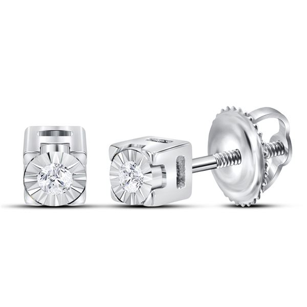 Diamond Solitaire Stud Earrings 1/20 Cttw Sterling Silver