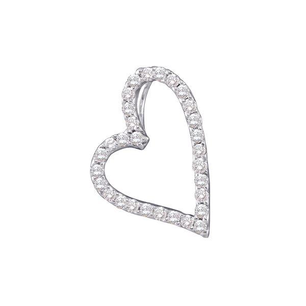 Diamond Sideways Heart Frame Pendant 1/5 Cttw 14kt White Gold