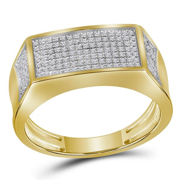 Mens Diamond Rectangle Cluster Band Ring 1/3 Cttw 10kt Yellow Gold