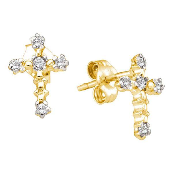 Diamond Cross Earrings 1/20 Cttw 14kt Yellow Gold