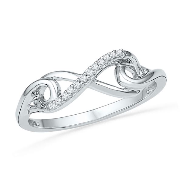 Diamond Infinity Knot Ring 1/20 Cttw 10kt White Gold