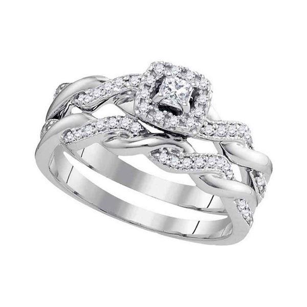 Princess Diamond Bridal Wedding Ring Band Set 1/3 Cttw 10kt White Gold
