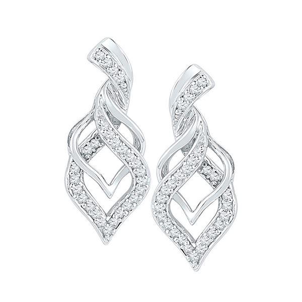 Diamond Twist Spade Stud Earrings 1/5 Cttw 10kt White Gold