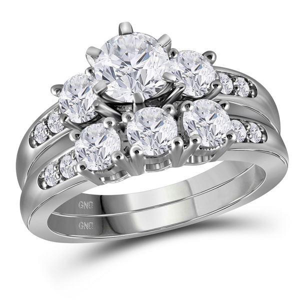 Diamond 3-Stone Bridal Wedding Ring Band Set 2 Cttw 14kt White Gold
