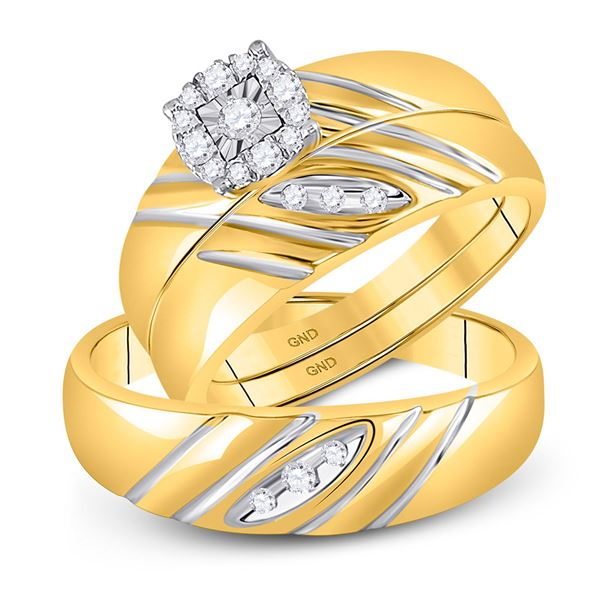 His Hers Diamond Solitaire Matching Wedding Set 1/5 Cttw 10kt Yellow Gold
