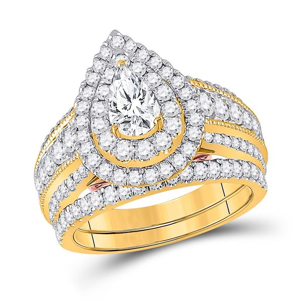 Pear Diamond Bridal Wedding Ring Band Set 2 Cttw 14kt Yellow Gold