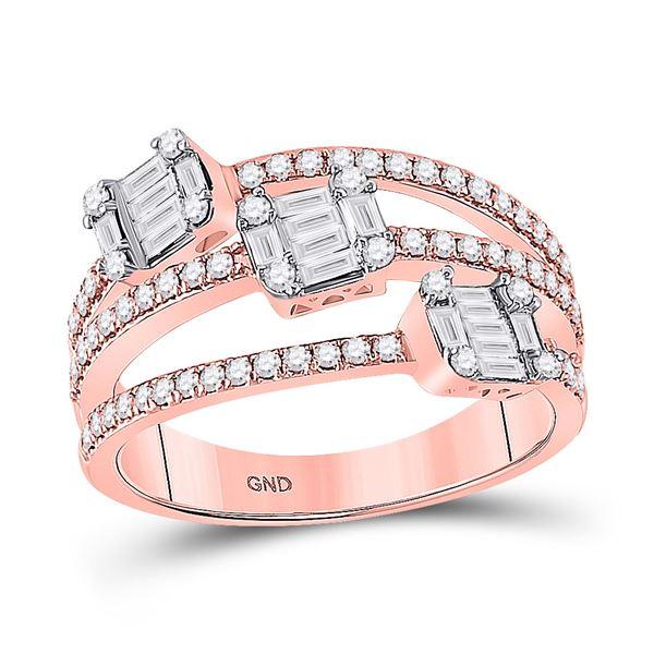 Baguette Diamond Cluster 3-stone Ring 3/4 Cttw 14kt Rose Gold
