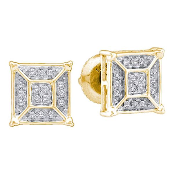 Diamond Square Geomteric Cluster Earrings 1/10 Cttw 10kt Yellow Gold