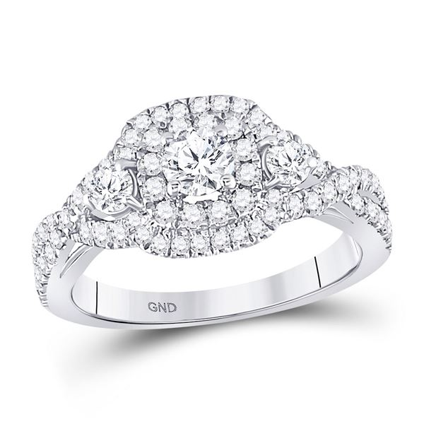 Diamond 3-stone Twist Bridal Wedding Engagement Ring 1 Cttw 14kt White Gold