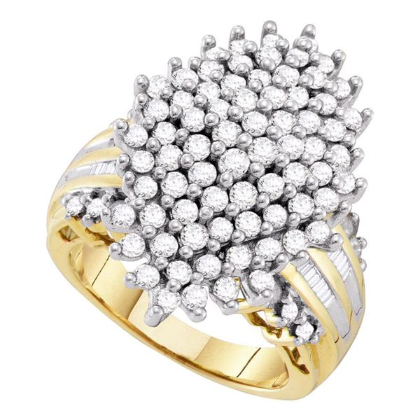 Diamond Oval Cluster Ring 2 Cttw 10kt Yellow Gold