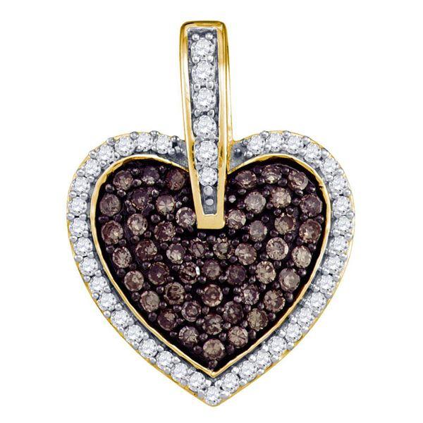 Brown Diamond Heart Pendant 1/2 Cttw 10kt Yellow Gold