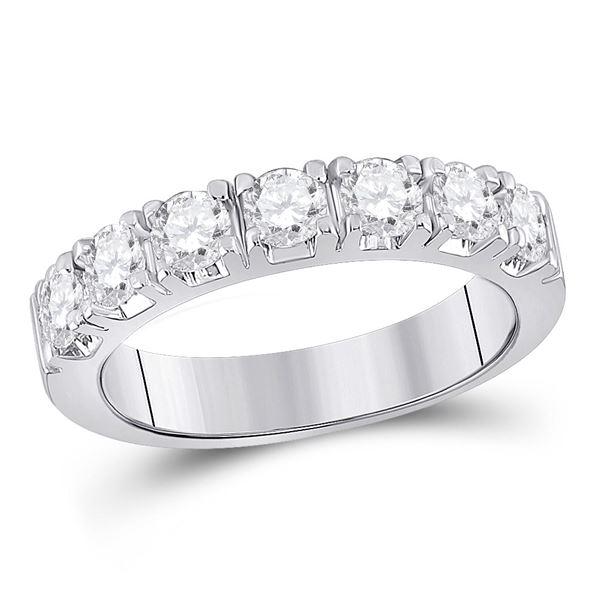 Diamond Single Row Band Ring 1 Cttw 14kt White Gold
