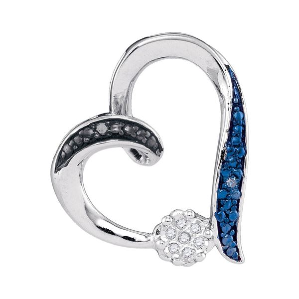 Blue Color Enhanced Diamond Heart Pendant .03 Cttw Sterling Silver