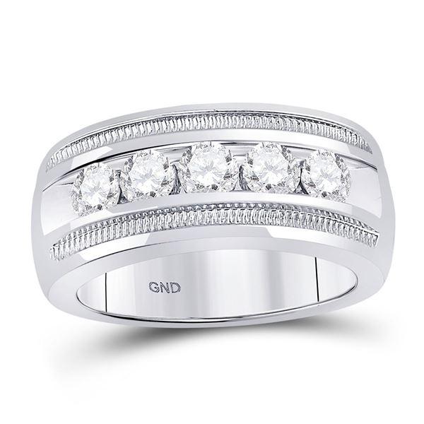 Mens Diamond Single Row 5-Stone Wedding Band Ring 1-1/2 Cttw 14kt White Gold