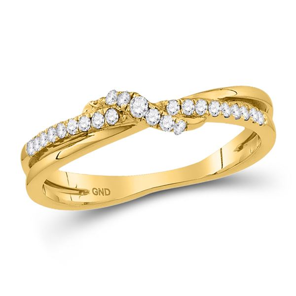 Diamond Crossover Stackable Band Ring 1/6 Cttw 10kt Yellow Gold