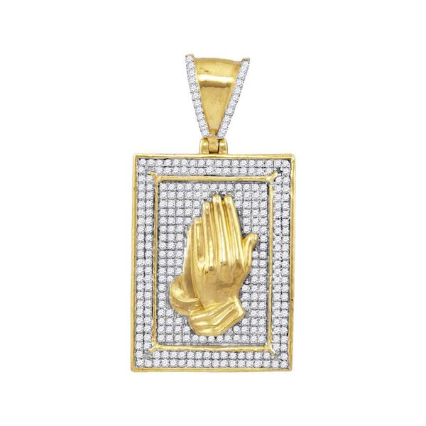 Mens Diamond Praying Hands Frame Charm Pendant 1/2 Cttw 10kt Yellow Gold