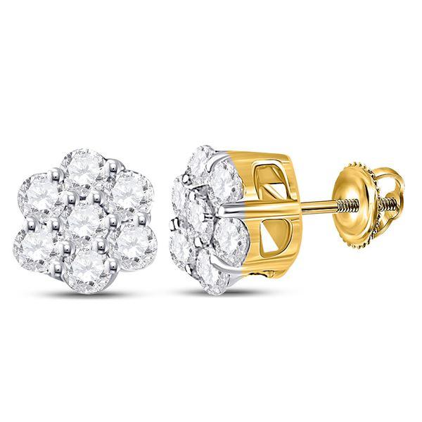 Diamond Flower Cluster Earrings 1/3 Cttw 10kt Yellow Gold