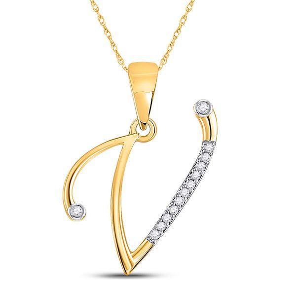 Diamond V Initial Letter Pendant 1/20 Cttw 10kt Yellow Gold