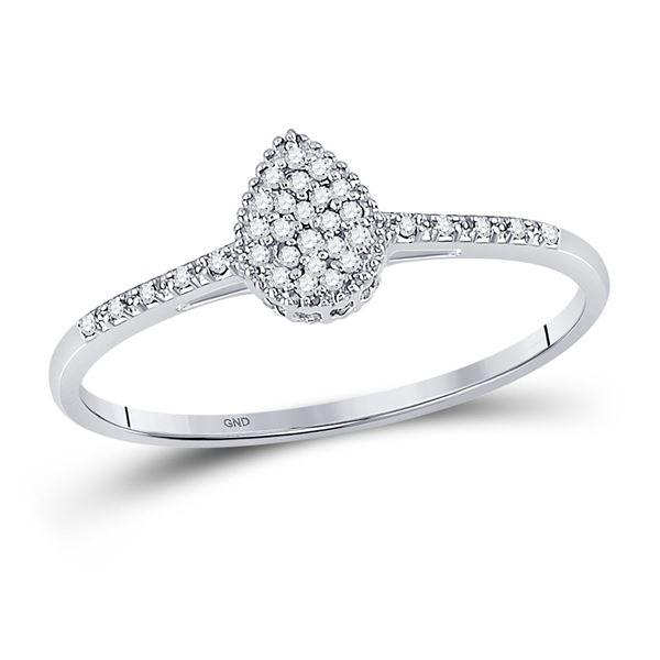 Diamond Teardrop Cluster Ring 1/20 Cttw 10kt White Gold