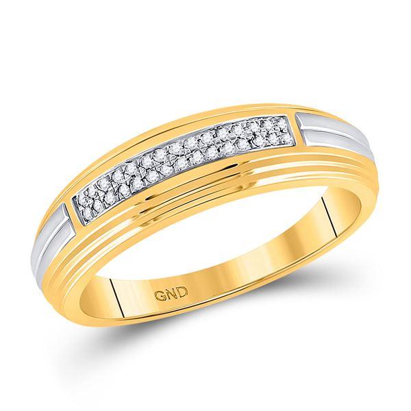 Mens Diamond Double Row Wedding Band 1/10 Cttw 10kt Yellow Two-tone Gold