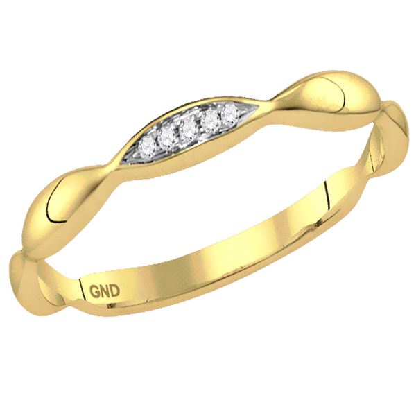 Diamond Contoured Stackable Band Ring .02 Cttw 14kt Yellow Gold